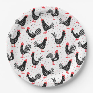 Rustic roosters paper plate