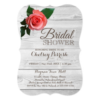 Rustic Rose Bridal Shower Bride-To-Be Invitation
