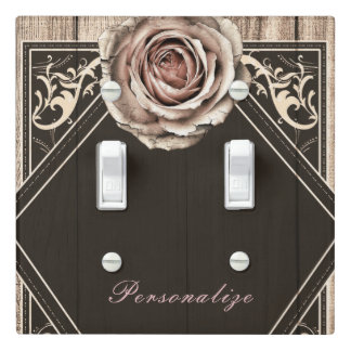 Rustic Rose Elegant Light Wood Diamond Chic Custom Light Switch Cover