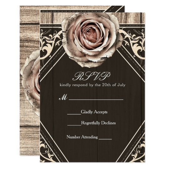 Rustic Rose Elegant Light Wood Wedding RSVP Card