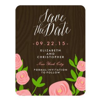 """Rustic Rose Garden Save the Date 4.25"""" X 5.5"""" Invitation Card"""