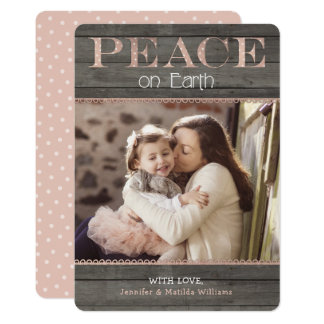 Rustic Rose Gold Peace on Earth Holiday Photo Card