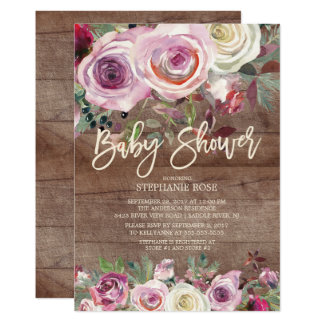 Rustic Rose Purple Floral Baby Shower Invitation