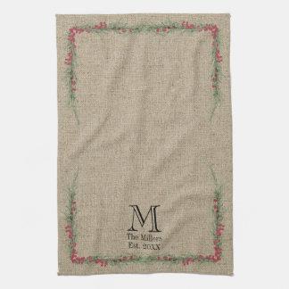 Rustic Rosemary and Berries Watercolor on Burlap Kitchen Towel