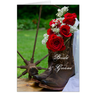 Rustic Roses and Cowboy Boots Wedding Invitation