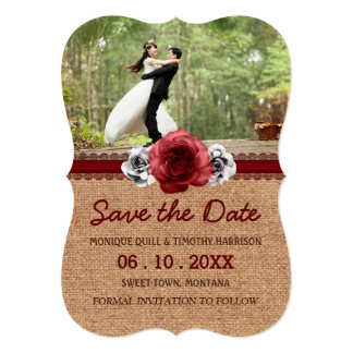 """Rustic Roses - Burlap Lace Wedding Save the Date 5"""" X 7"""" Invitation Card"""