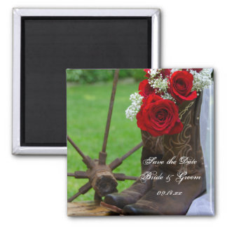 Rustic Roses Cowboy Boots Wedding Save the Date Magnet