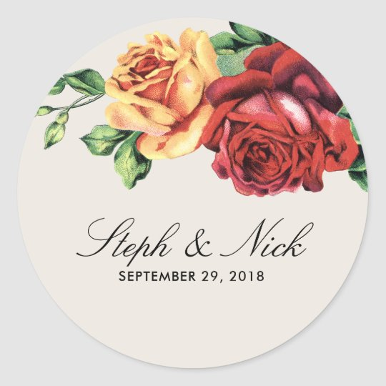 Rustic roses flower wedding classic round sticker