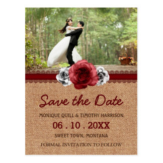 Rustic Roses - Lace Wedding Save the Date Postcard