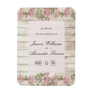 Rustic Roses On Wood Save The Date Magnet