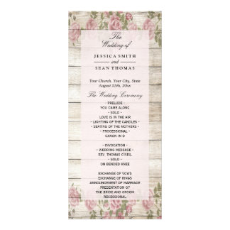 Rustic Roses On Wood Wedding Program