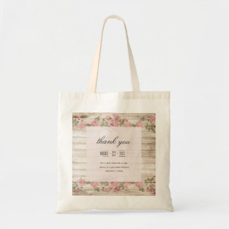 Rustic Roses On Wood Wedding Thank You Tote Bag