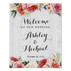 Rustic Roses White Wood Wedding Reception Sign