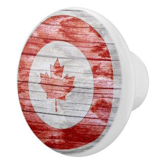 Rustic Round Canada Flag Bulls Eye Red Maple Leaf Ceramic Knob