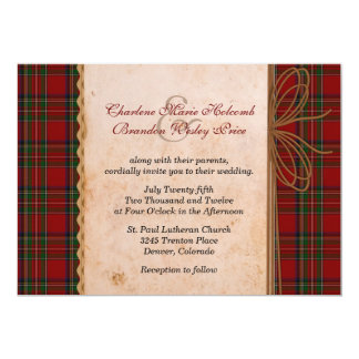 Rustic Royal Stewart Plaid Wedding Invitation
