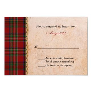 Rustic Royal Stewart Plaid Wedding RSVP Card