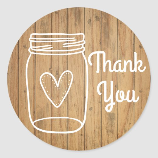 Rustic RSVP Mason Jar Brown Wood Country Wedding Classic Round Sticker
