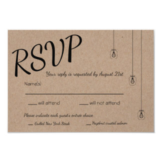 Rustic RSVP with String Lights on Kraft Paper Card