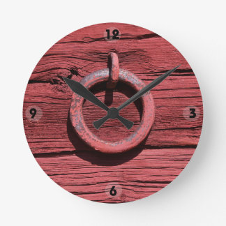 Rustic Rural Red Wood Wall Iron Ring Clock