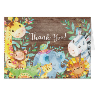 Rustic Safari Jungle Baby Shower Thank You Note Card
