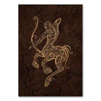 Rustic Sagittarius Zodiac Sign on Stone Effect Card