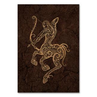 Rustic Sagittarius Zodiac Sign on Stone Effect Table Cards