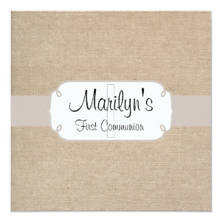 "Rustic Salmon and Beige Burlap First Communion 5.25"" Square Invitation Card"