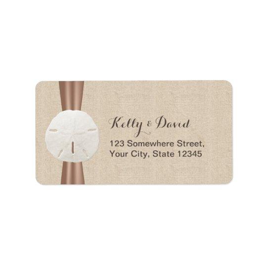 Rustic Sand Dollar Burlap Return Address Labels