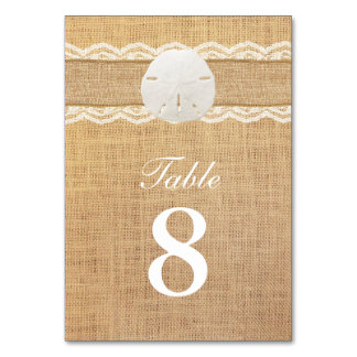 Rustic Sand Dollar Lace & Burlap Table Numbers