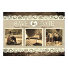 Rustic Save the Date | Barn Wood Lace and Burlap Card
