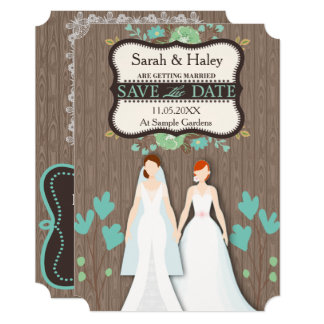 Rustic Save the Date Card, Two Brides Card
