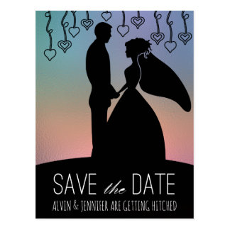 Rustic Save The Date Fancy Ombre Pink Postcard