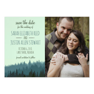 Rustic Save the Date for a Mountain wedding blue Card