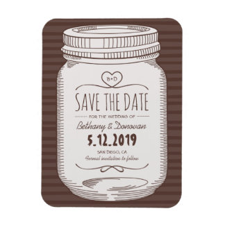Rustic Save The Date Magnet Country Mason Jar