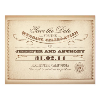 rustic save the date vintage tickets postcards