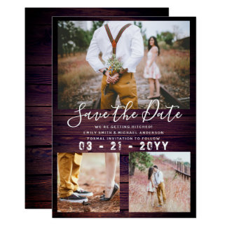 RUSTIC Save the Date Wedding PHOTO COLLAGE Purple Card