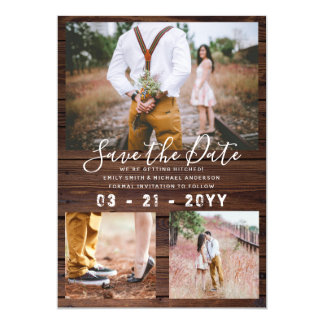 RUSTIC Save the Date Wedding PHOTO COLLAGE - Wood Card