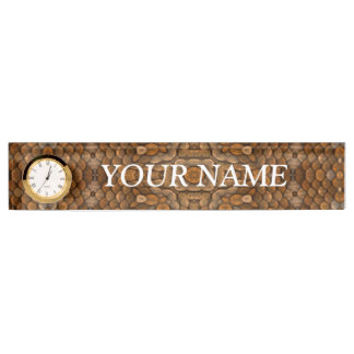 Rustic Scales Desk Nameplate with Clock