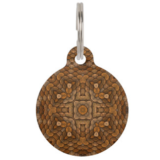 Rustic Scales  Vintage Kaleidoscope Dog Cat Tags Pet Name Tags