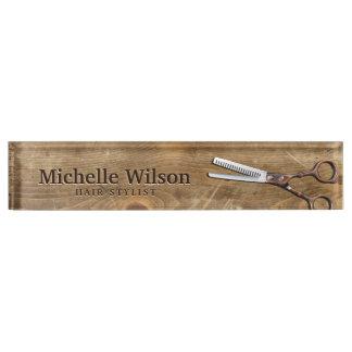 Rustic Scissors & Wood Makeup Beauty Hair Salon Nameplate