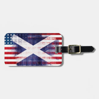 Rustic Scottish American Flag Luggage Tag