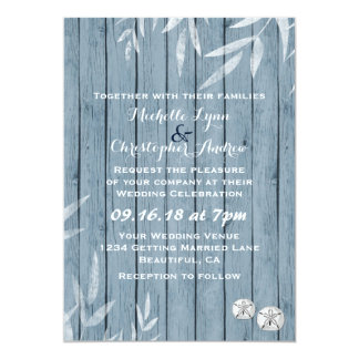 Rustic Seaside Wooden Beach Wedding Invitation