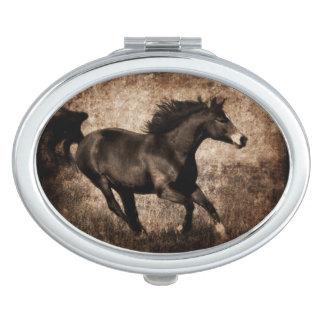 Rustic Sepia Galloping Horse Travel Mirror
