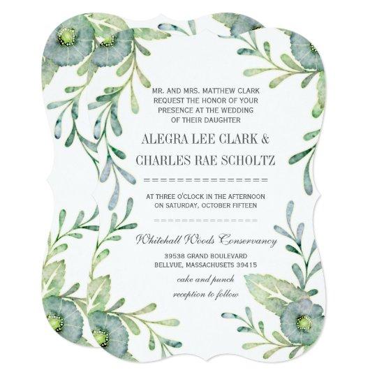 Rustic Serenity Blue Watercolor Wedding Card