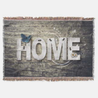 Rustic Shabby Chic Home Saying Throw Blanket