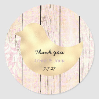 Rustic Shabby Pink Gold Rose Wedding Thank you Classic Round Sticker