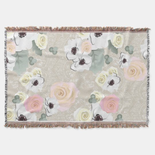 Rustic Shabby Rose Anemone Floral Throw