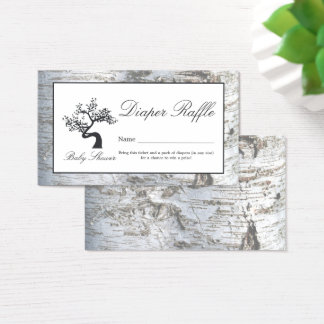 Rustic Silver Birch Tree Baby Diaper Raffle Ticket