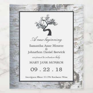 Rustic Silver Birch Tree Baby Girl Announcement Wine Label