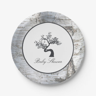 Rustic Silver Birch Tree Baby Shower 7 Inch Paper Plate